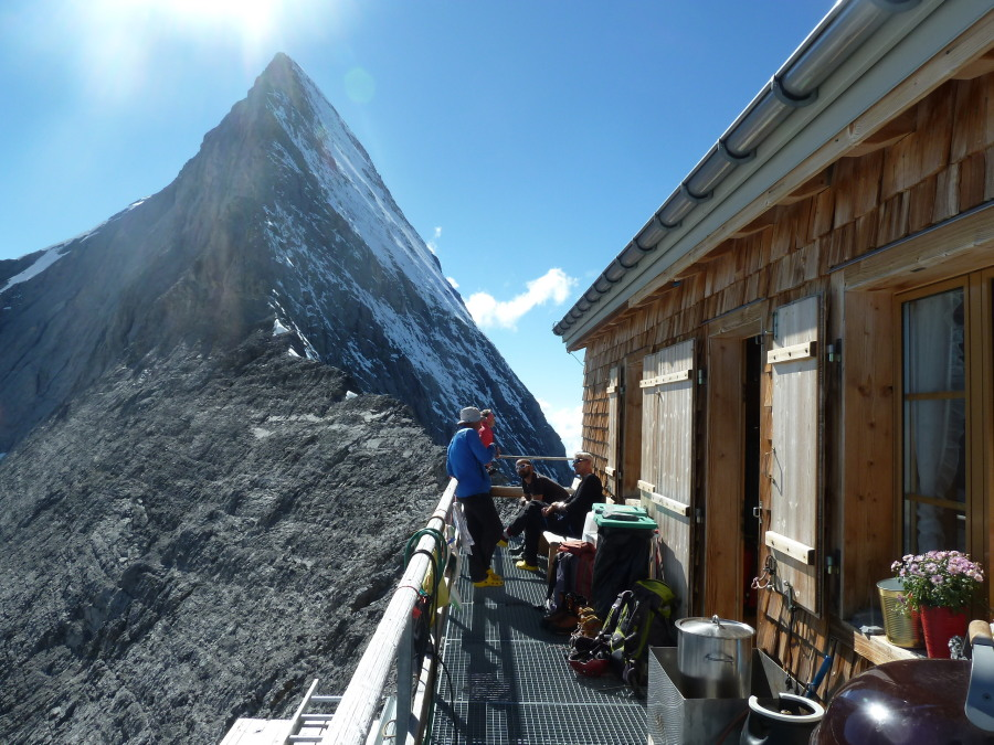 Eiger Mittelegi ridge from the hut