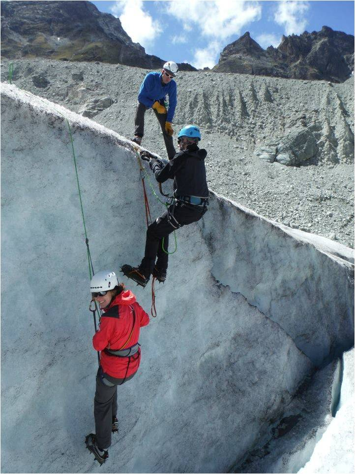 Prusiking practice at Moiry glacier (Photo E Whittaker)