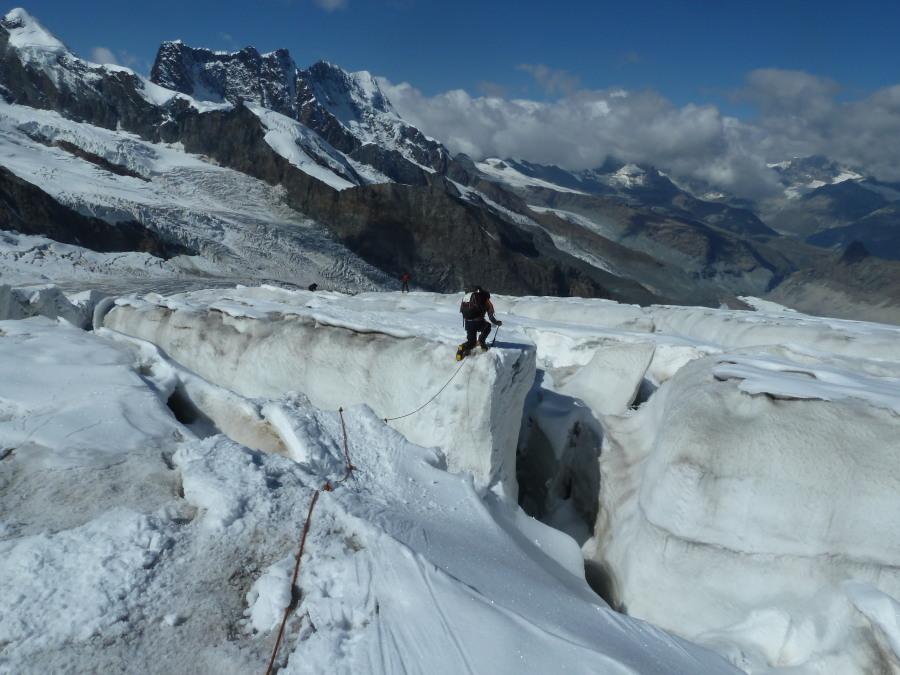 Return through the crevasses on the lower glacier