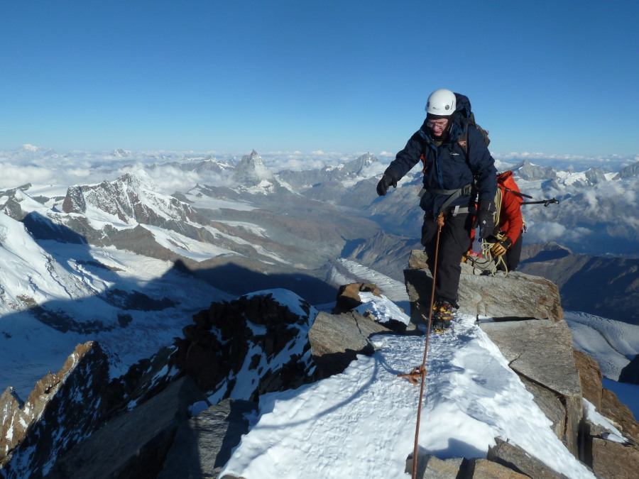 Climbing west ridge of Monte Rosa with British Mountain Guides