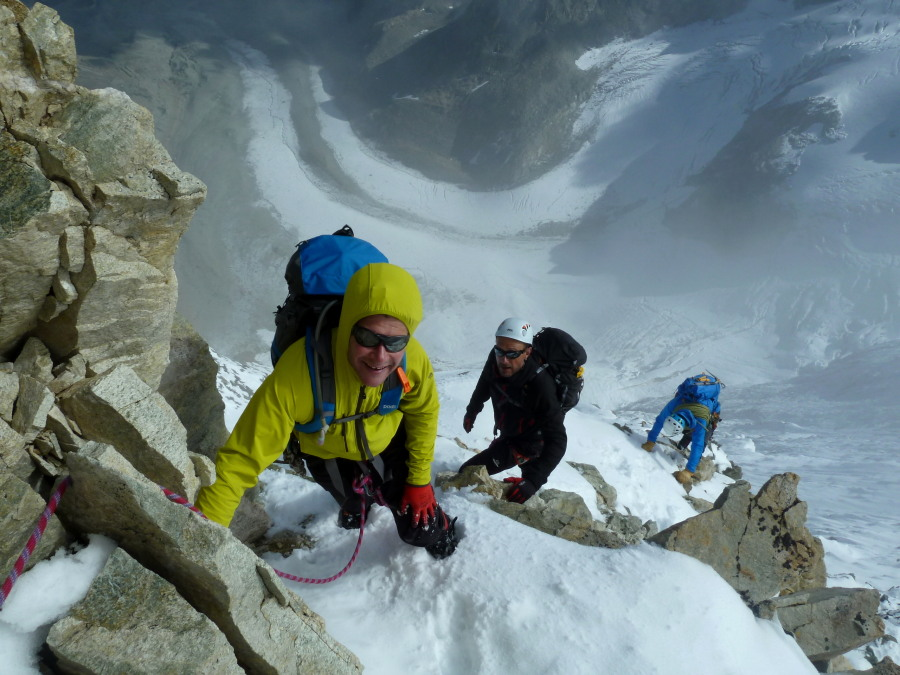 Smiles all round on the final arete, Mont Blanc de Cheilon