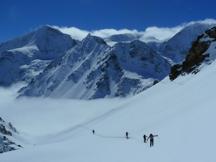 Skinning the top slope. Pigne d'Arolla and Mont Blanc de Cheilon in the background