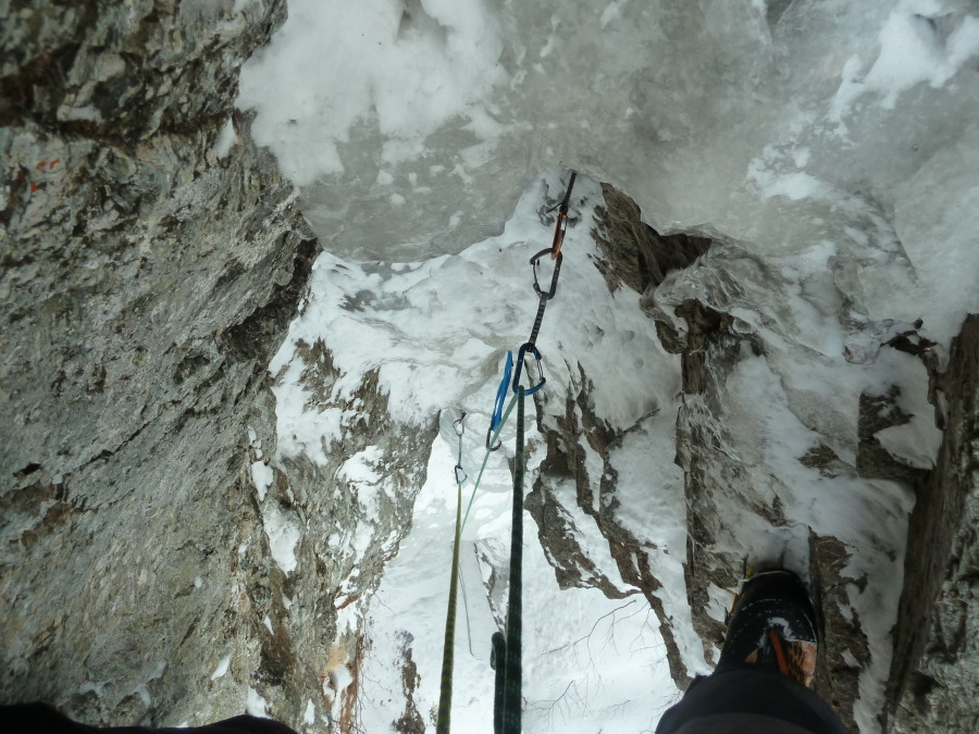 Looking down the second-to-last pitch of Lillaz Gully