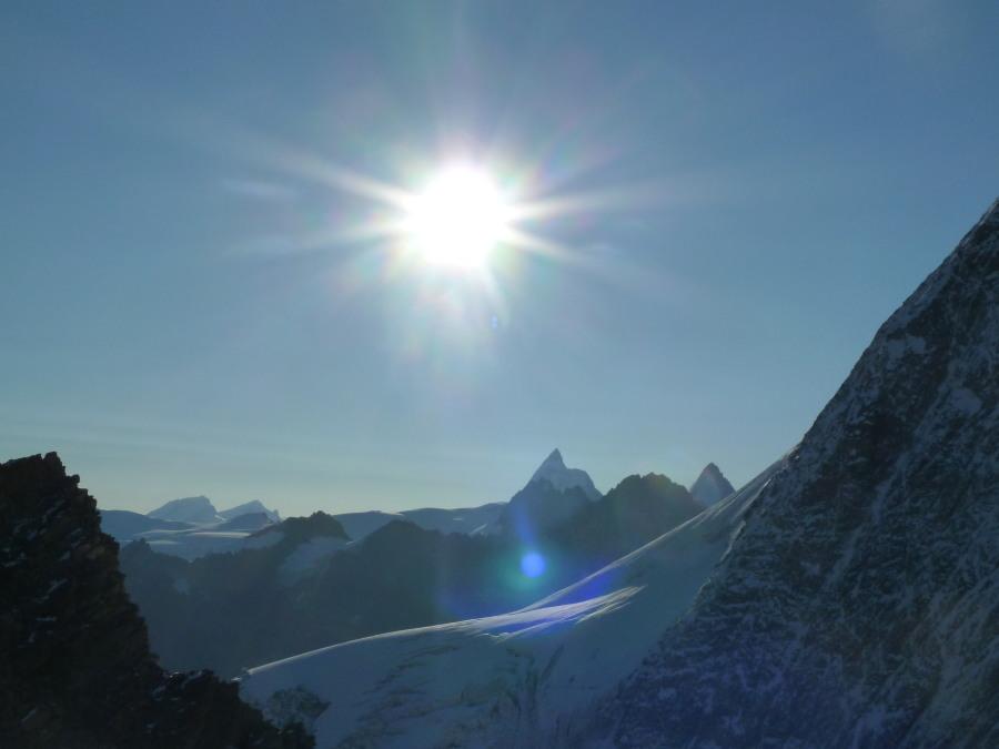 Fine views to the Matterhorn and Dent d'Hérens