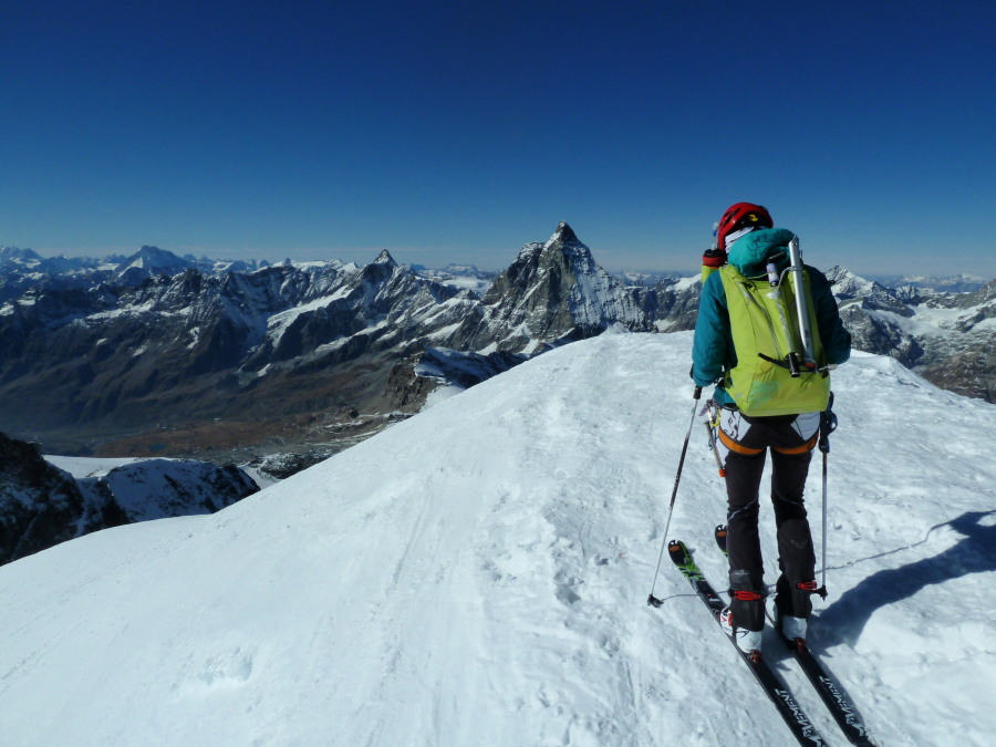 Ready to ski from the Breithorn summit