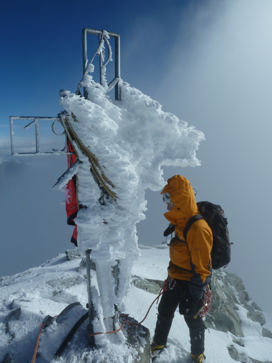 Dent Blanche summit. Guided climb