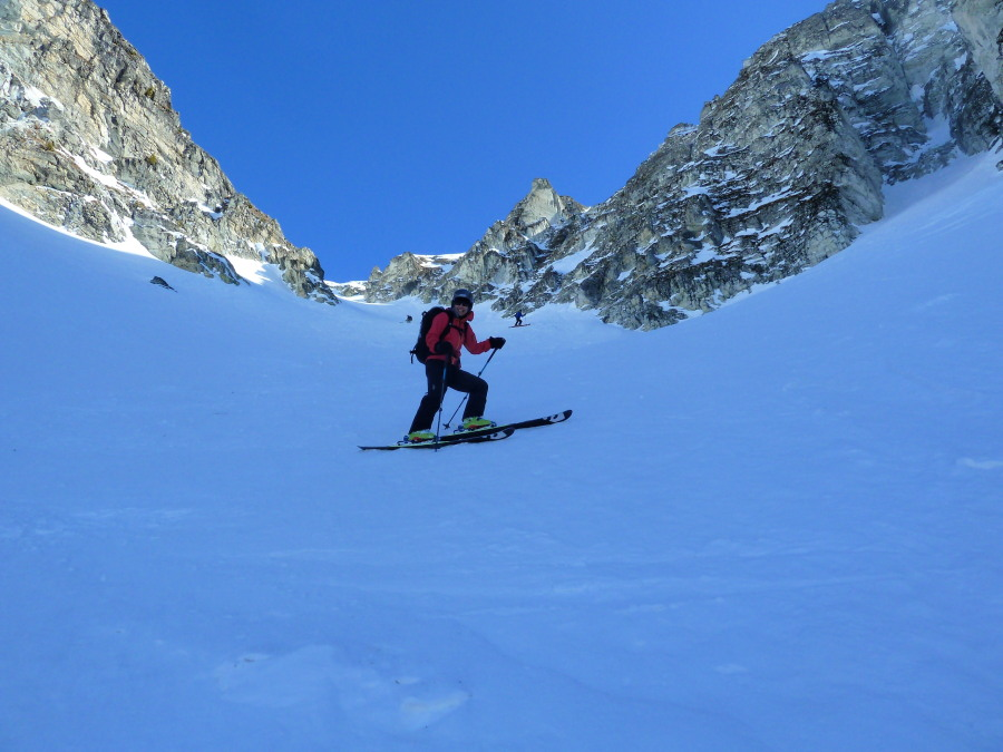 Steep, shady skiing in the Illhorn NW couloir.