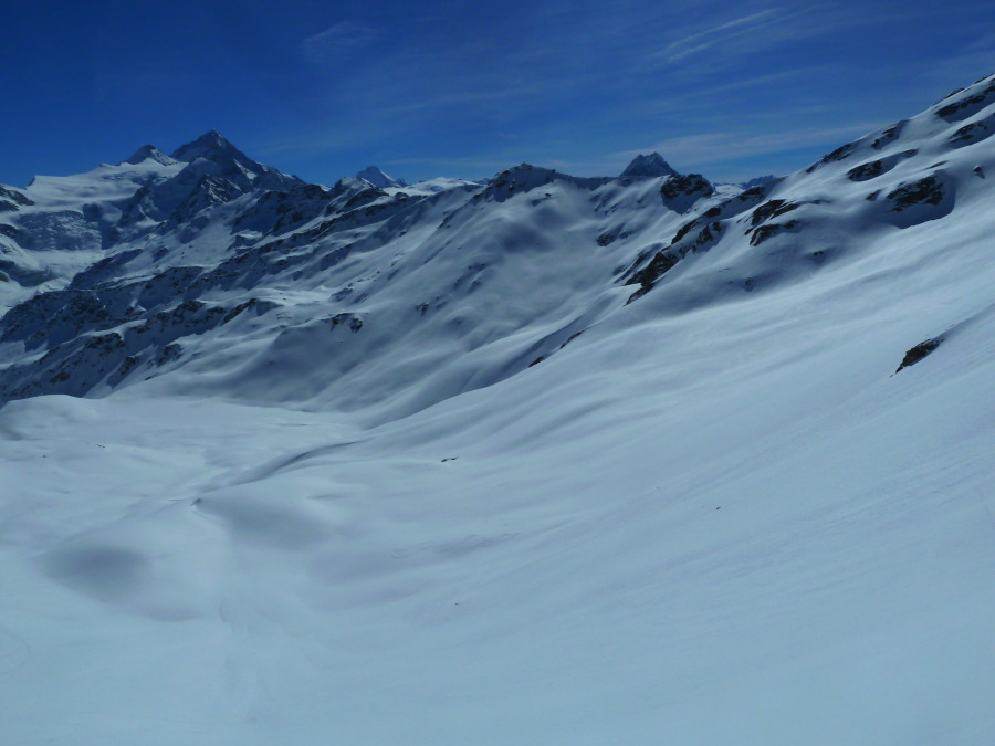 Fine views south to the Moiry valley and Dent Blanche