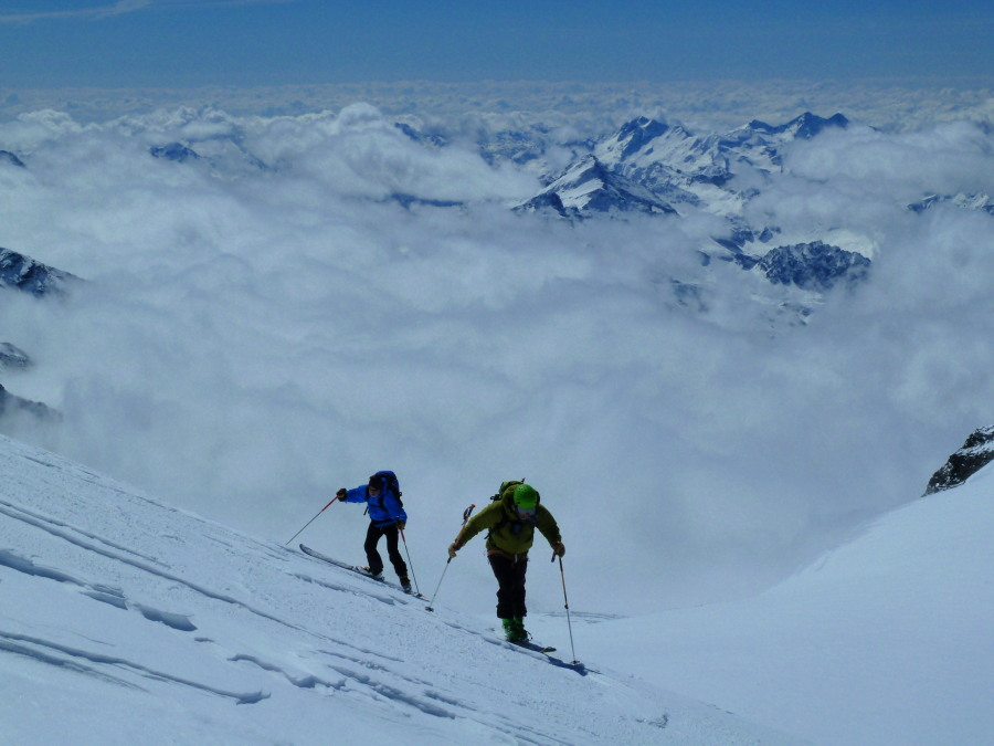 Skinning above the clouds on the Breithorn