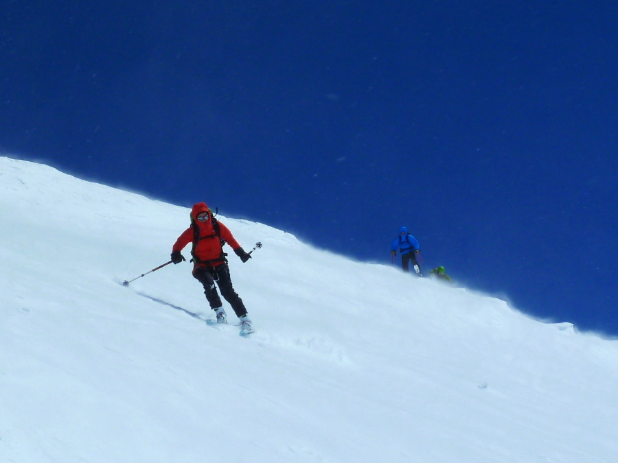 Skiing off the top