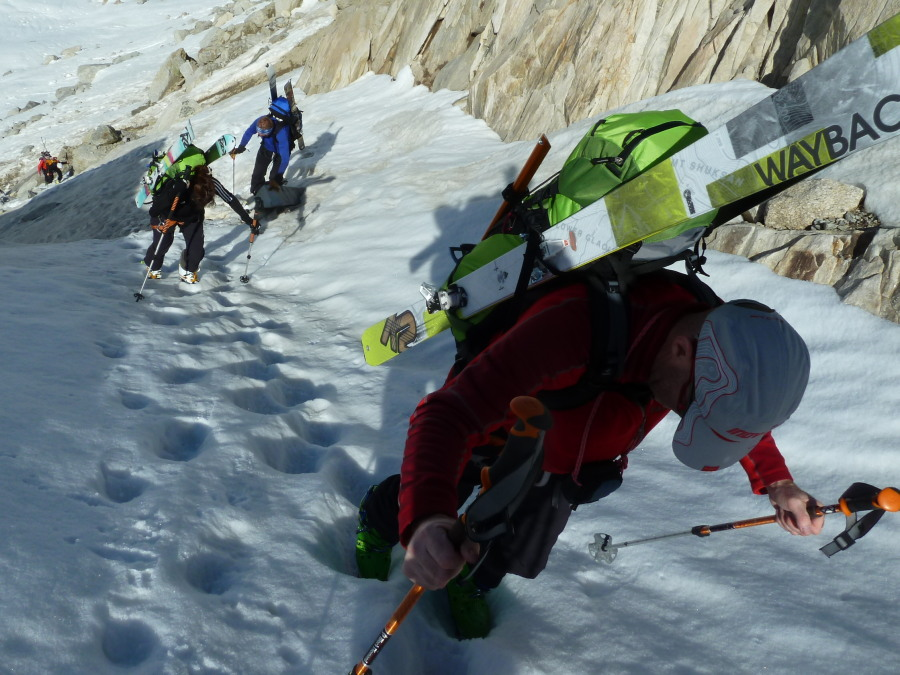 Cramponning up from the Argentiere glacier on day 1 of the Haute Route