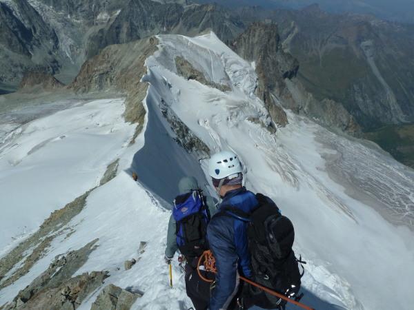 Descending Arete du Blanc