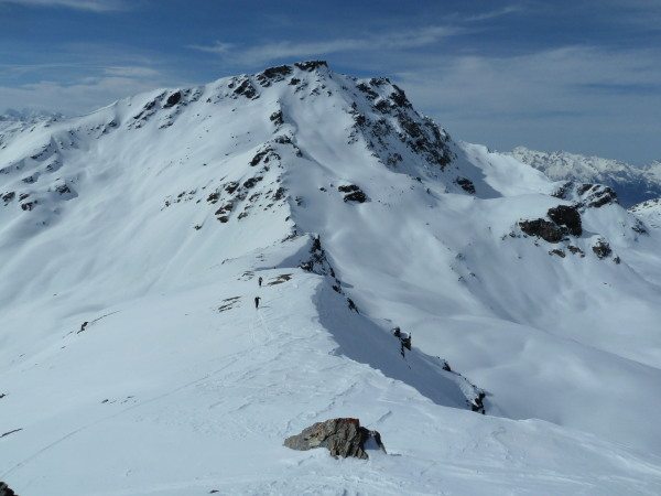 Near the top of the Diablon before perfect sunny spring skiing