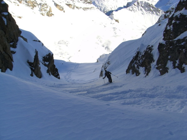 first turns in the gully