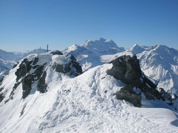 Mont Fort summit and Grand Combin