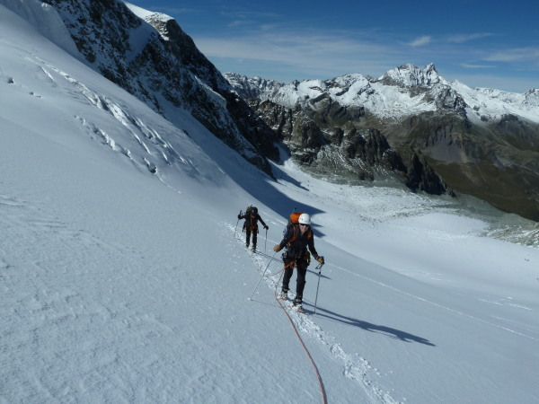 snowshoeing up the glacier des Pieces