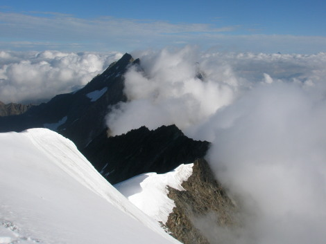 Looking down Weissmeis north ridge to the Lagginhorn