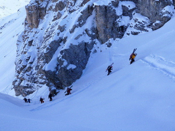 Climbing the Gassi couloir