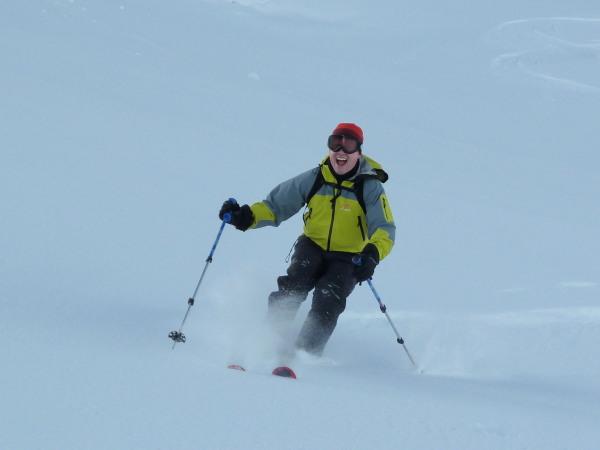 Happy skier in Zinal