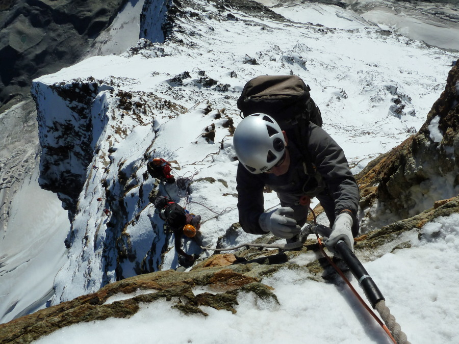 Climb Matterhorn fixed ropes British Mountain Guide