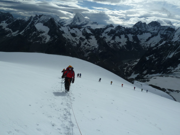 Guided School Group heading up the Pigne d'Arolla