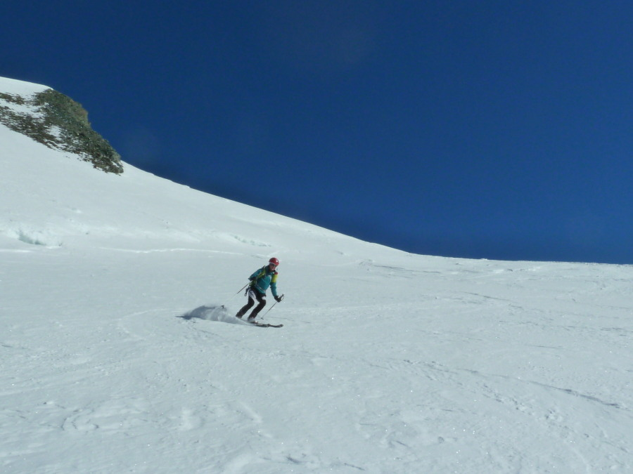 Skiing off the Allalinhorn
