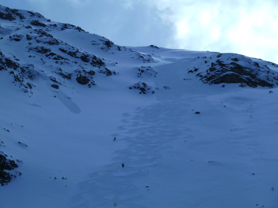 Off Piste on the North Face of Mont Noble. All the tracks are ours.