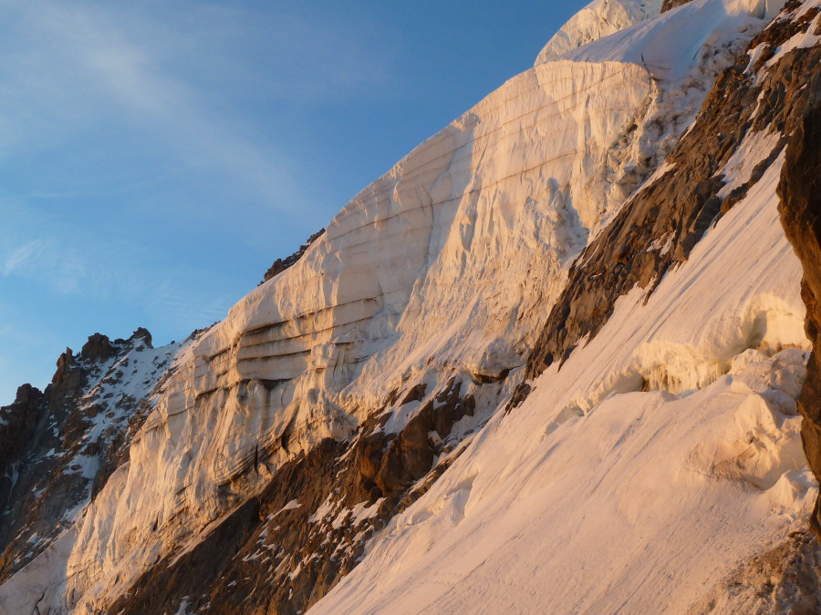 Argentiere North Face seracs in the dawn light