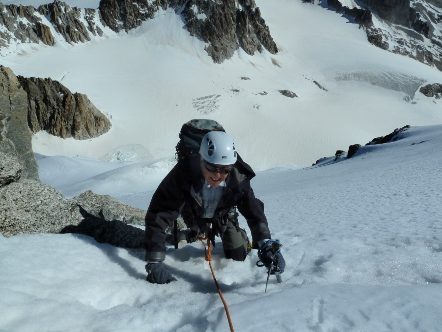 The final steps on the north face with the Saleina glacier far below