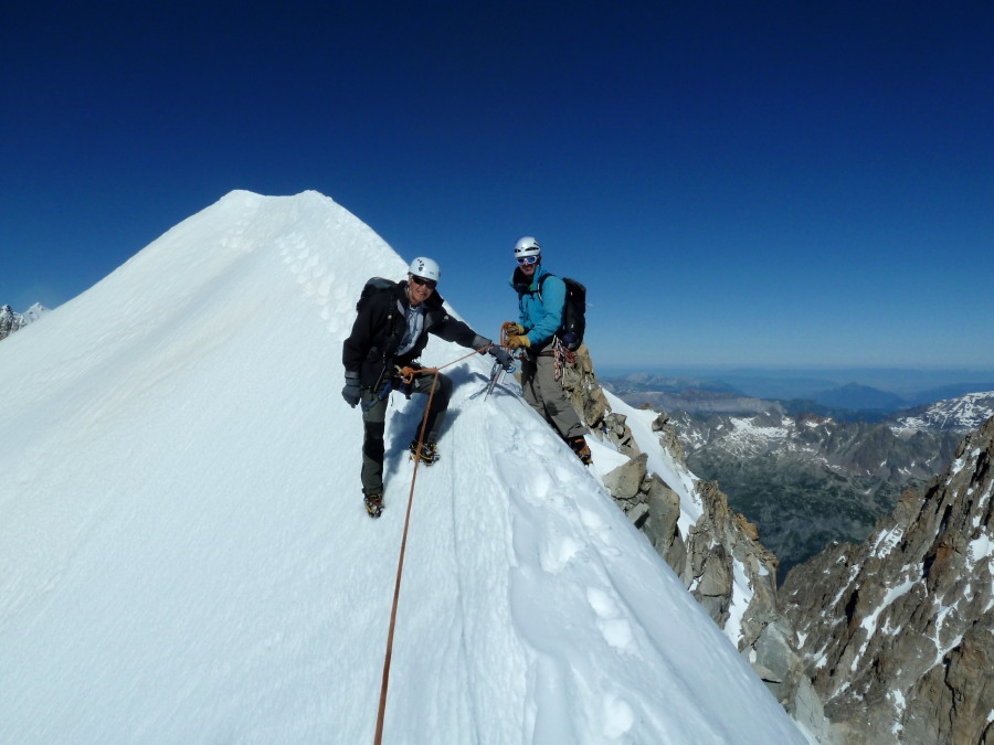 Counter-balanced on the Aiguille d'Argentiere Summit Ridge