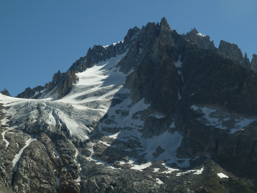 "Glacier Supérieure du Chardonnet, and the narrow ""S"" gully of the Whymper route."